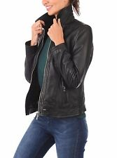Leather Coat Women Jacket Slim Fit High Neck Womens Biker Black Jacket W- 0016