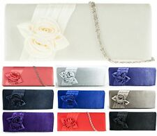NEW LADIES FAUX SATIN ROSE FLOWER DETAIL CLUTCH BRIDAL PURSE HANDBAG ps006