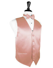 New Mens Size Coral Solid Tuxedo Vest BowTie Set Formal Groom Wedding TUXXMAN
