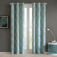 NEW Set 2 Curtains Panels Drapes Pair 63 84 in Blackout Grommet Damask Blue Gray