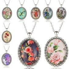 Fashion Girl Flower Silver Oval Time Gem Pendant Necklace Charm Chain Young Gift