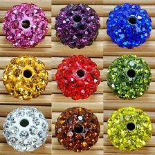 10Pcs Disco Ball Pave New Czech Round Clay Crystal Rhinestones Spacer Beads