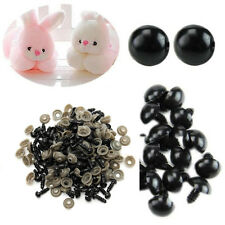 100 Pcs 6-14mm Black Plastic Safety Eyes for Teddy Bear Dolls Toy Animal Felting