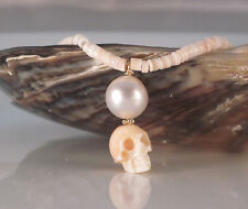 "South Sea Pearl Queen Conch Skull Heishi Necklace 16.50"" 14k Solid Yellow Gold"