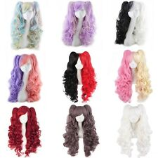 Lolita Curly Wavy Long Hair Full Wig+Ponytail Anime Cosplay Party Colorful New