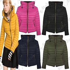Ladies Women's Quilted Winter Faux Fur Zip Pocket Hooded Collar Jacket Coat