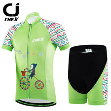 Green Kid's Cycling Suit Bicycle Jersey + Padded Shorts Set Bike Children Jersey
