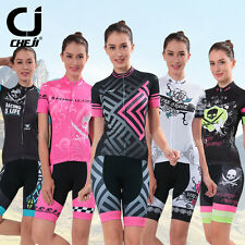 Womens Cycling Jersey Set Bicycle Short Suit Bike Jersey + Gel Padded Shorts