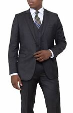 Zanetti Slim Fit Charcoal Gray Pindot Two Button Three Piece Wool Suit