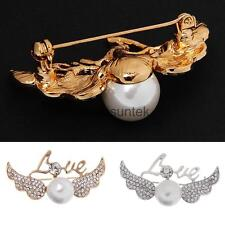 Fashion Ladies Love Angell Wing Pearls Design Brooch Pins Costume Jewelry