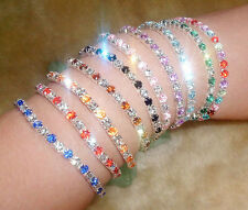 Fashion Tennis Rhinestone Crystal Wedding Bridal Bangle Stretch Bracelet Jewelry