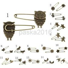 10 Bronze Tone Retro Alloy DIY Pin Scarf Brooches Crafts Jewelry for Cardigan