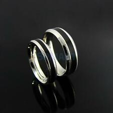 Stainless Steel Silver & Black 6mm/4mm Comfort Fit Band Finger Ring US Size 7-10