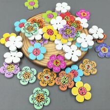 2-Holes 20mm Mixed Color Wooden Flowers Sewing Buttons Scrapbooking Decorations