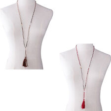 Handmade Crystal Seed Beads Fashion Lady Long Chain Tassel Boho Necklace Jewelry