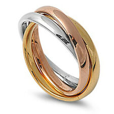 3mm Men Stainless Steel 316L Ring Tri color Tone Interlocked Rolling Band