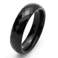 6mm Tungsten Ring Black Color Enameled Faceted Wedding Band / Gift box