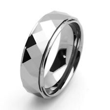 Men's 8mm Tungsten Carbide Band Domed Faceted Stepped Edge Ring / Gift box