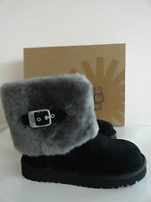"NEW UGG AUSTRALIA KIDS ""ELLEE"" SHEARLING CUFFED BOOTS BLACK"