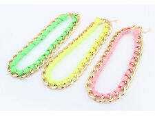 Occident Style Fashion fluorescent color ribbon chain necklace 3 color