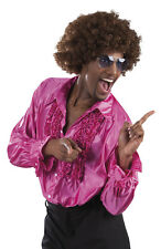 MENS DISCO RUFFLE SHIRT 1970'S FANCY DRESS COSTUME M-L-XL-XXL