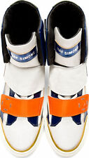 RAF SIMONS HIGH TOP FASHION SNEAKERS STRAPPED TRAINERS WHITE ORANGE A$AP ROCKY