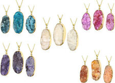 Charm Natural Crystal Stone & Gold Plated Pendant Fashion Chain Necklace Jewelry