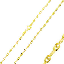 2.3mm 925 Sterling Silver Nova Chain Necklace / 14K Gold Plated made in italy