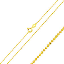 1mm 925 Sterling Silver Italian Bead Chain Necklace / Gold Plated made in italy