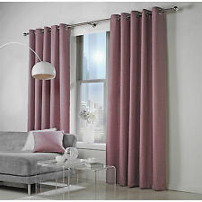 Ready Made Woven Linen Effect Lined Eyelet Curtains Pair - Heather Purple