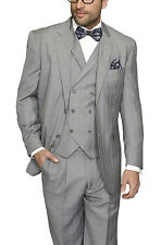 Mens Classic Fit Gray Glen Plaid Two Button Three Piece Wool Suit