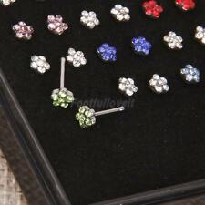 24pcs Rhinestone Crystal Flower Nose Studs Ring Bone Bar Pin Piercing 0.8mm 20G