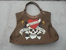 Ed Hardy Love Kills Slowly Bronze Brown Tote Purse Lrg Handbag Shoulder Bag
