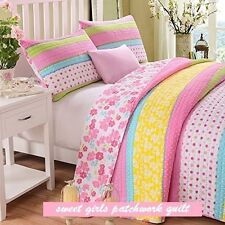 Pink Polka Dot Stripe Floral Quilt Set Twin Full/Queen
