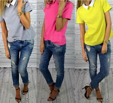 Korean Women Doll Collar Chiffon Slim Shirt Pure Color Short Sleeve Blouses Tops