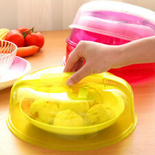 Transparent Microwave Ventilated Plate Dish Food Cover Steam Vent Lid Hot;