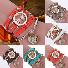 Fashion Women Faux Leather Crystal Rhinestone Bracelet Quartz Analog Wrist Watch