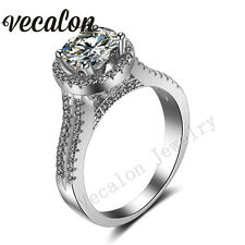 Women Crown Jewelry Round 3ct Diamonique Cz 925 Silver Filled Wedding Band Ring