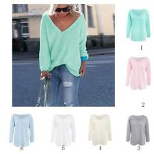 Fashion Women Boho Casual Crewneck Sweater Jumper Pullover Loose Knit Top Blouse