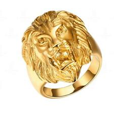 Fashion Men Gold Stainless Steel Lion Head Wedding Band Ring Size 8-12 Jewelry