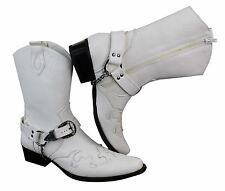 Mens Cowboy Belt Buckle Western Riding Chain Boots White Leather