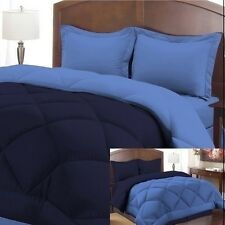 NEW Twin Full Queen King Bed 3 pc Navy Blue Reversible Comforter Shams Set NWT