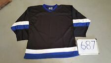 Auth. BLANK BLACK Royal White 2 Stripe Mens League 3v3 Pond Hockey Jersey 687