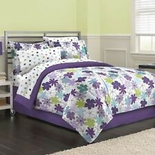 NEW Twin XL Full Queen Bed Purple White Blue Floral 8 pc Comforter Sheets Set