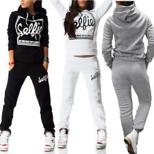 2Pcs Womens Tracksuit Letter Hooded Hoodies Sweatshirt Pants Casual Sport Sets