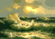 Ocean Wave Hand Painted Design Needlepoint Canvas 356