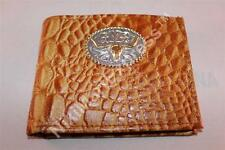 Real Leather Crocodile Embossed Western BIFOLD RODEO WALLET Cast Longhorn Concho