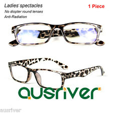 Fashion Ladies Rectangle Full Rim Eyeglasses Frame Anti-Radiation Lenses Leopard