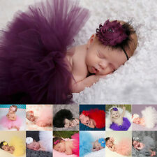 Cute Newborn Toddler Baby Girls Headband+Tutu Skirt Costume Photo Prop Outfits