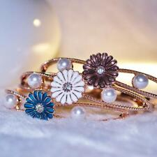 Elegant Rose Gold Daisy Pearl Bangle Bracelet Cuff Girl Jewelry Gift 3 Colors